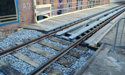 Neuer Übergang Schotteroberbau zu Hilfsbrücke
