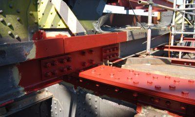 Verstärkungsarbeiten an den Querträgern der Kanalbrücke