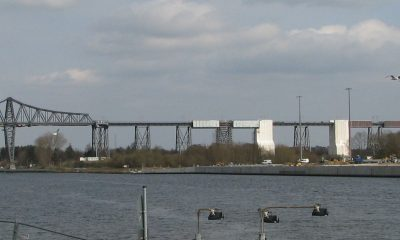 Ansicht Kanalbauwerk und Rampenbrücke Süd (z.T. eingerüstet und verplant)