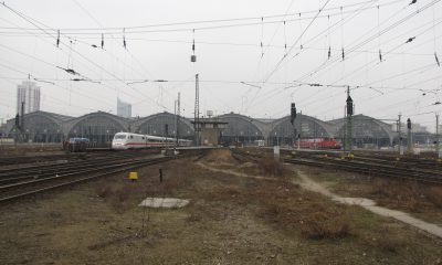Ansicht des Bahnhofsvorfeldes in Leipzig