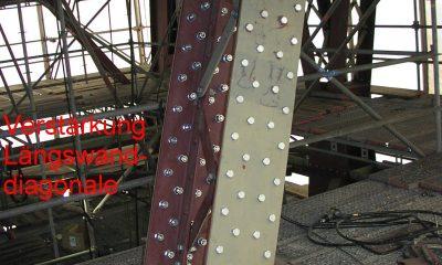 Verstärkung der Längswanddiagonale durch Decklamellen