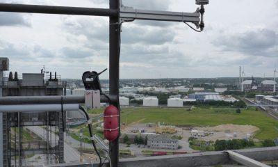 Windmessung auf dem Pylon der Hubbrücke