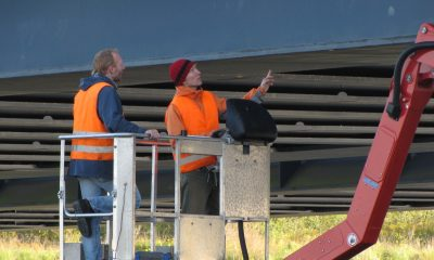 Installation Dehnmessstreifen am Bauwerk