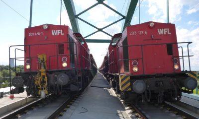 Statischer Belastungsversuch mit 2 schweren Güterzügen im August 2014