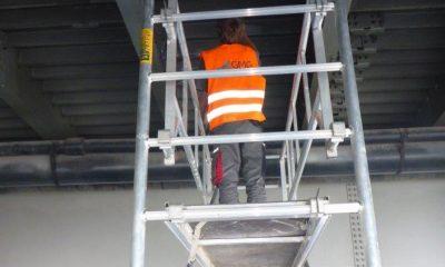 Installation der Messtechnik an der orthotropen Fahrbahnplatte